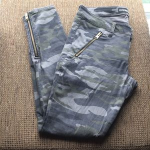 Express camo skinny fit gold zipper ankle legging